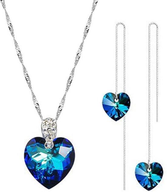 Mooie Ocean Blue Hart Ketting en Oorbellen Set – Met Blauw Oostenrijks Kristal en Kleine Witte Zirkonia CZ – 45 cm Ketting – 925 Sterling Zilver