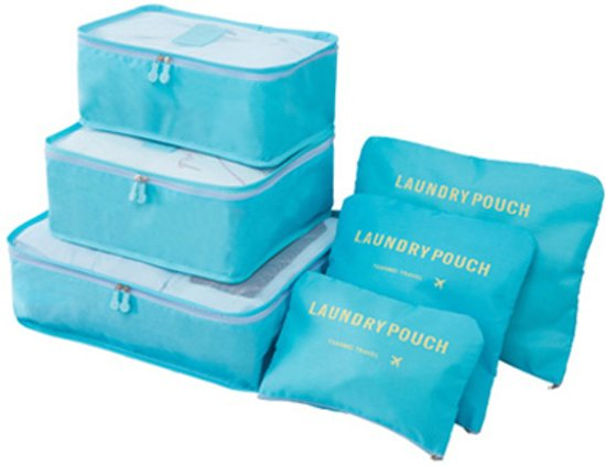Packing cubes - 6 stuks - Koffer Organiser - Lichtblauw