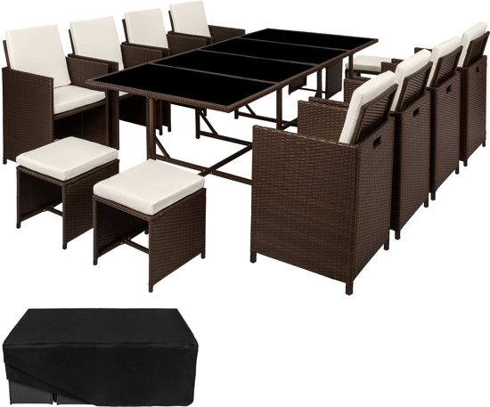 TecTake - wicker tuinset, tuinset met 8 stoelen + tafel, bruin, 402101
