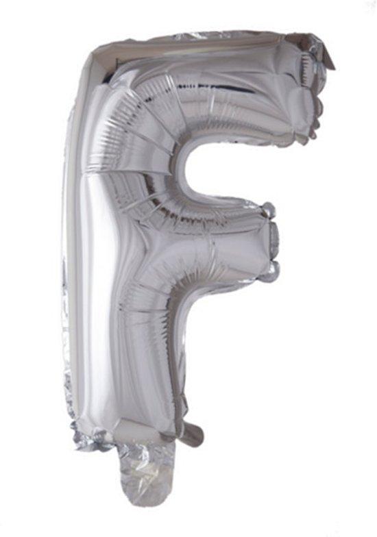 letterballon - 41 cm - zilver - F