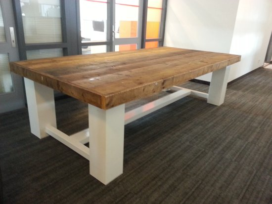 bol.com | Tafel Whitewood - 8/10 Persoons - Eettafel - Bruin/wit ...