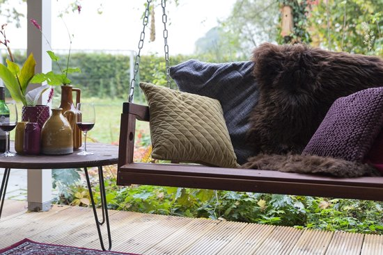 MaximaVida schommelbank 120 cm- voor 2 personen- mahoniehout