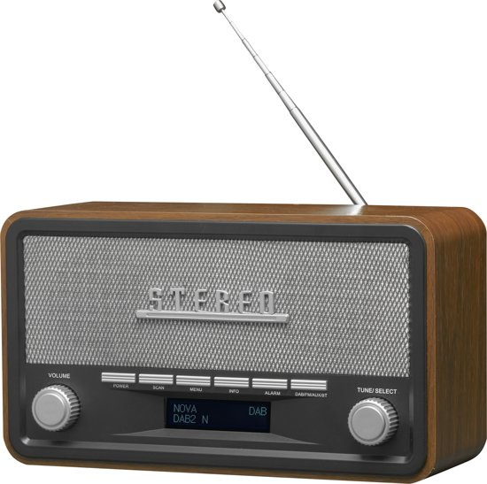 Denver DAB-18 - Retro DAB+ digital radio met Bluetooth functie - Hout