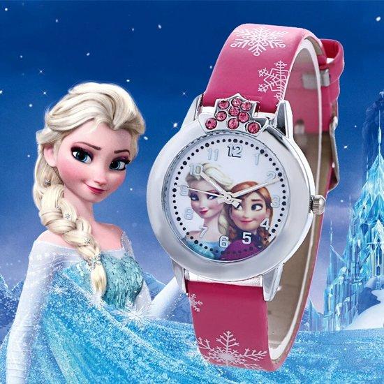 Disney Frozen  - Horloge - Leer - Roze - Ø 29 mm