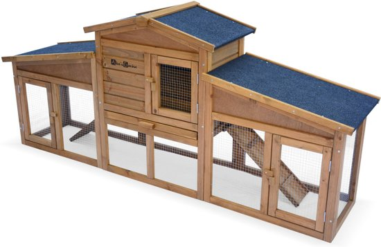 Houten konijnenhok ANGORA voor konijnen en andere knaagdieren, 4 konijnen, hok met buitenverblijf, met binnen- en buitenruimte