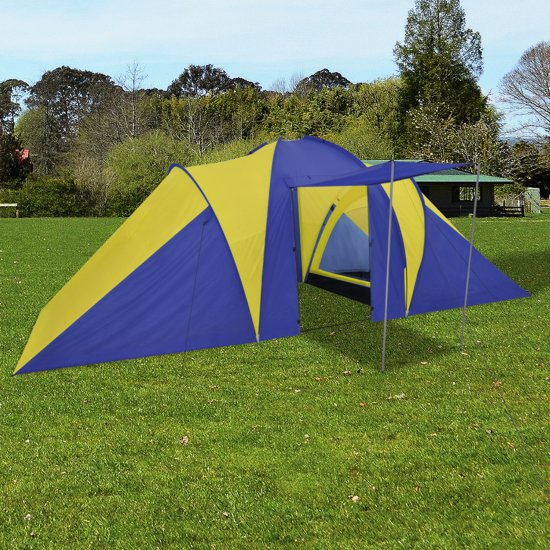 vidaXL - Kampeertent 6 - Visavis tent - 6-Persoons - Blauw/Geel