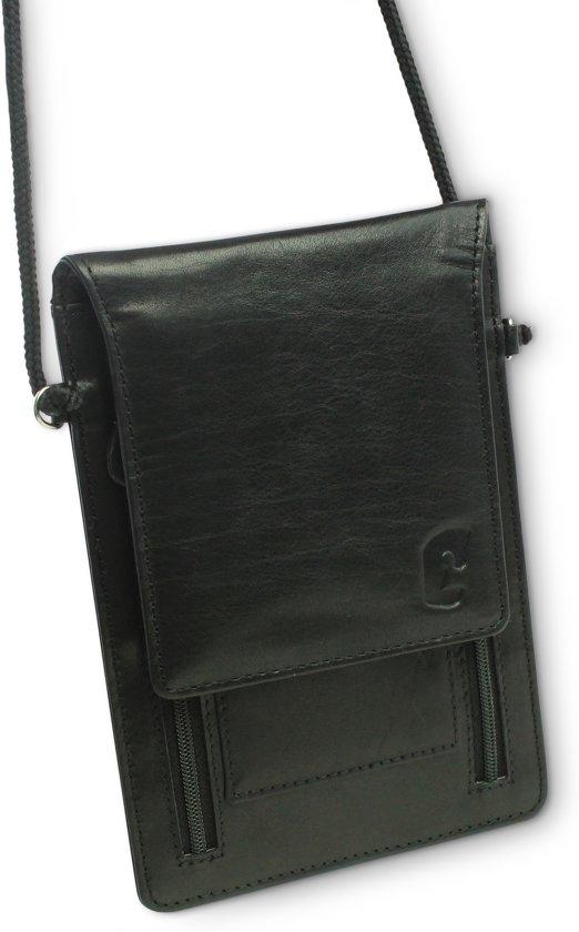 9a53a903f3d Safekeepers Omhangtas - Nektas - Travel Wallet RFID - Zwart - Echt leer