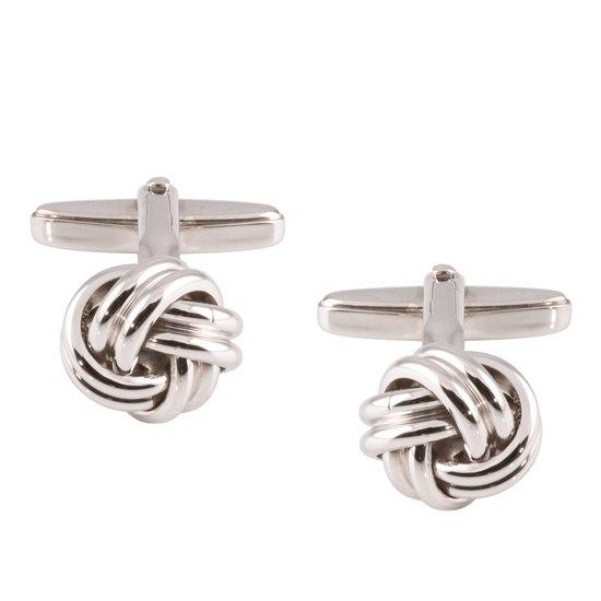 Classics&More - Zilveren manchetknopen Gerodineerd massieve knoop