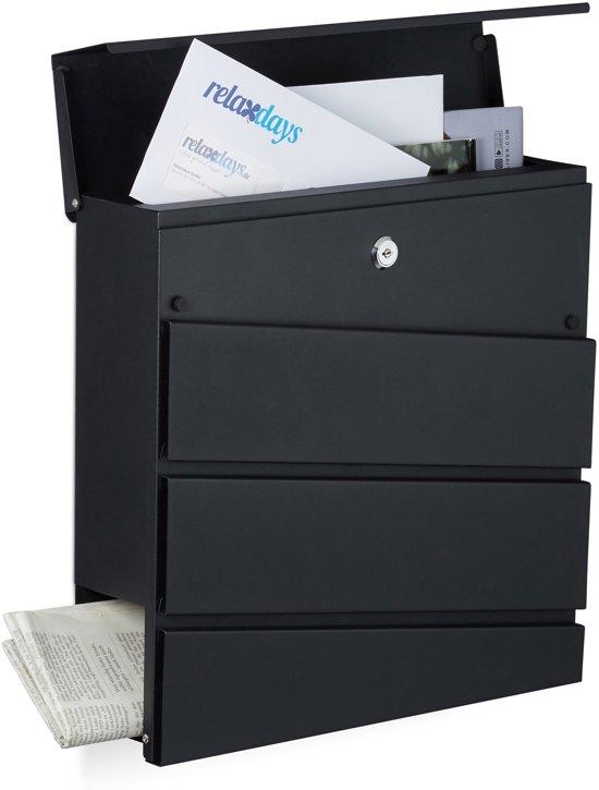 relaxdays brievenbus modern design, met krantenrol, mat staal, 2 sleutels, post