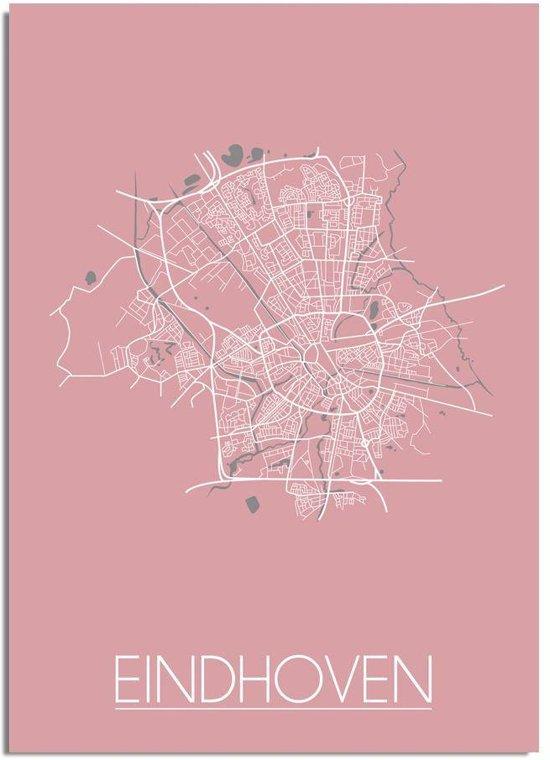 Plattegrond Eindhoven Stadskaart poster DesignClaud - Roze - A2 + fotolijst zwart