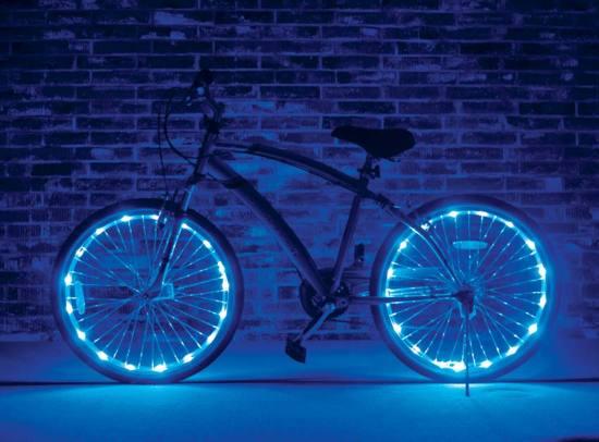 led wielverlichting fiets set van 2 blauw
