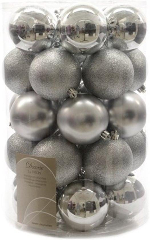 Kerst Kerstballen mix zilver 34 stuks