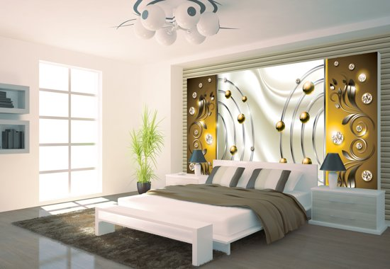 Goud | Crème Photomural, wallcovering