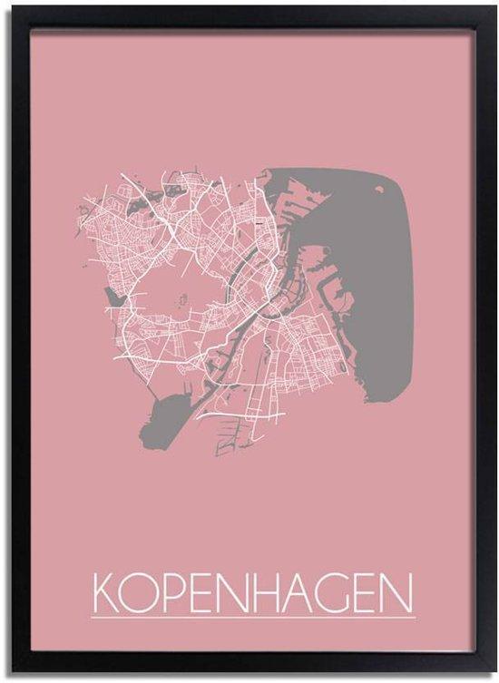 Plattegrond Kopenhagen Stadskaart poster DesignClaud - Roze - A3 + fotolijst zwart