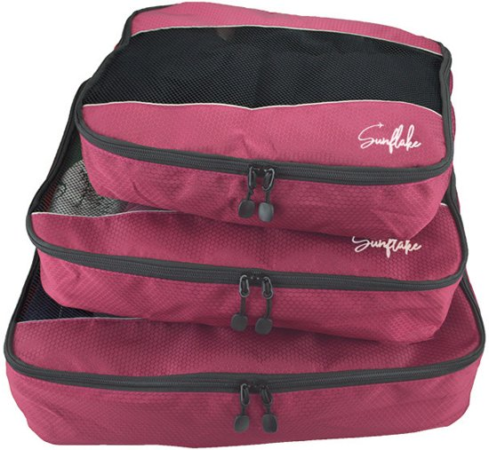 Packing Cubes Set (3x) - Koffer Organiser Voor Backpack & Koffer - Travel - Roze