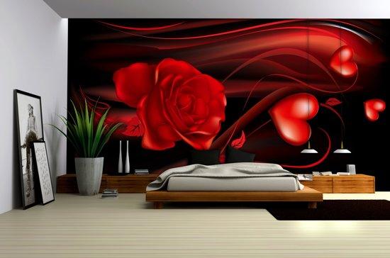 Slaapkamer Zwart Rood : Bol fotobehang vlies roos slaapkamer zwart rood