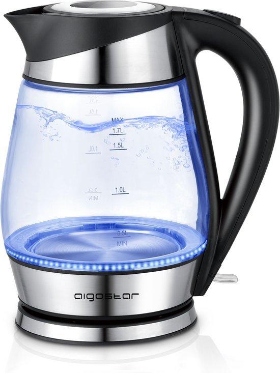 Zwarte Aanslag Waterkoker.Aigostar Chubby 30lcz Glazen Waterkoker Met Led Rvs Zwart