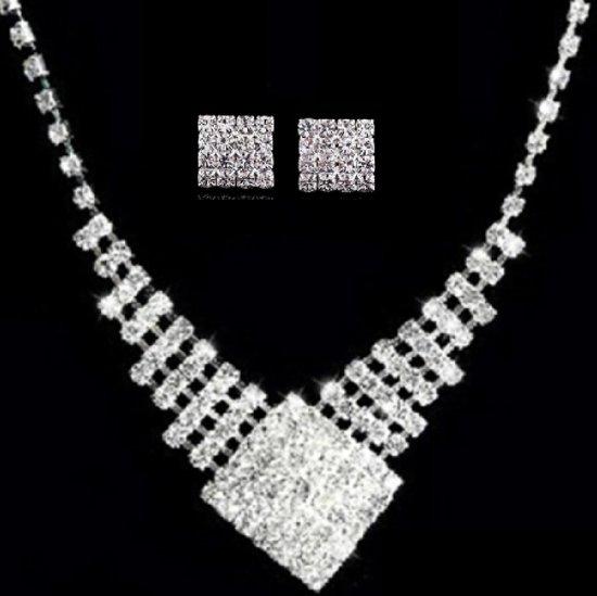 Bruids sieraden set- Brenda- Clip oorbellen