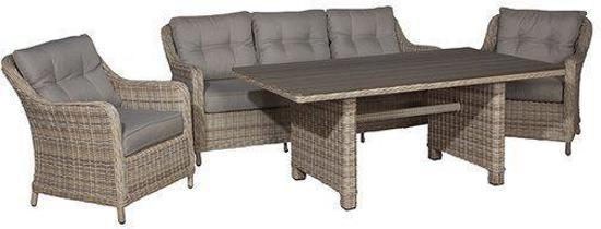 garden impressions aruba lounge dining set 4 delig kunststof passion willow. Black Bedroom Furniture Sets. Home Design Ideas