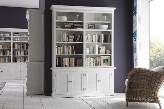 Bol boekenkast wittevilla wit deuren en open vakken breed
