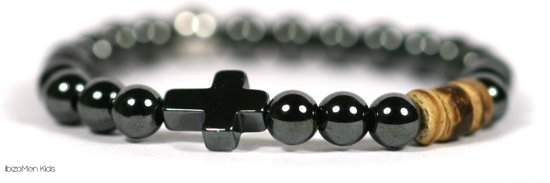 IbizaMen KIDS - kinder armband - natuursteen 6mm - Hematiet - kruisje - 14cm