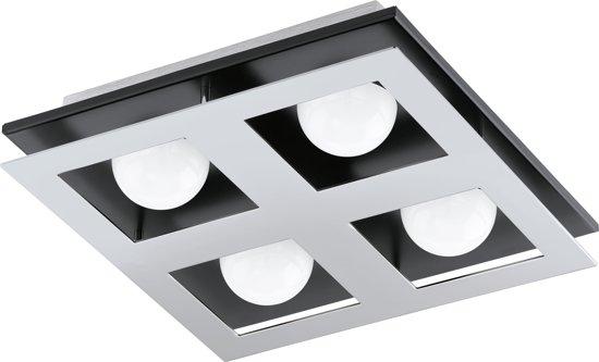 EGLO Bellamonte - Plafonnière - 4 Lichts - LED - Chroom, Zwart Aluminium - Wit