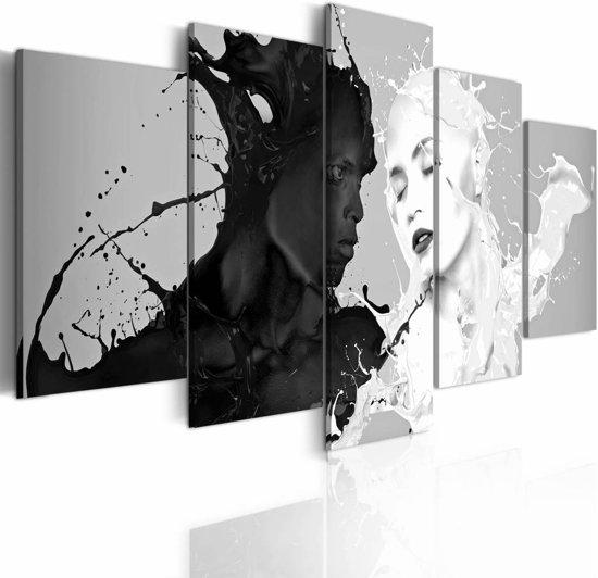 Schilderij - Liefde op het eerste gezicht, Zwart-Wit, 5luik