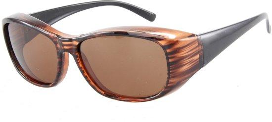 4a892599f84843 Overzetzonnebril Gepolariseerd - UV 400 bescherming Cat. 3 - Glazen 60 mm -  Bruin -
