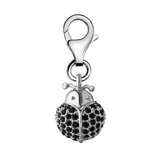 Quiges - Charm Bedel Hanger 3D Lieveheersbeestje met Zirkonia Zwart - Dames - zilverkleurig - QHC126
