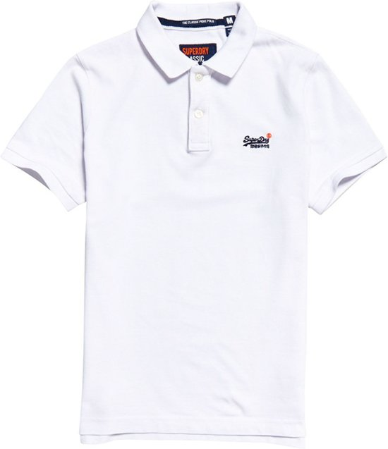 Superdry - Heren Polo SS Classic Pique Polo SS White - Wit - Maat XL