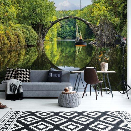 Fotobehang Tranquil Lake Bridge Water Reflection | VEXXL - 312cm x 219cm | 130gr/m2 Vlies
