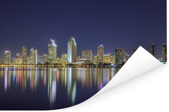 Skyline van San Diego in Amerika tijdens de nacht Poster 60x40 cm - Foto print op Poster (wanddecoratie woonkamer / slaapkamer)