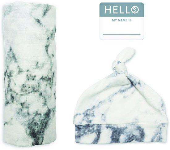 Lulujo Hello World Swaddle & Hat - Marble