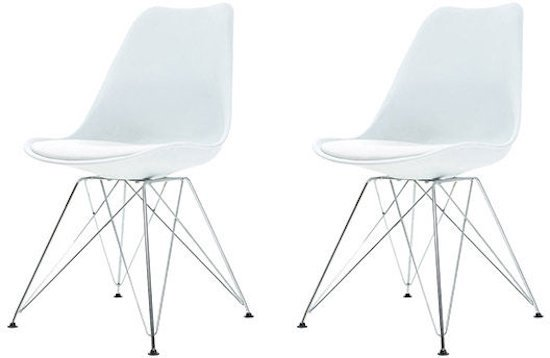 Bol vidlik dean metal stoel wit chrome set van