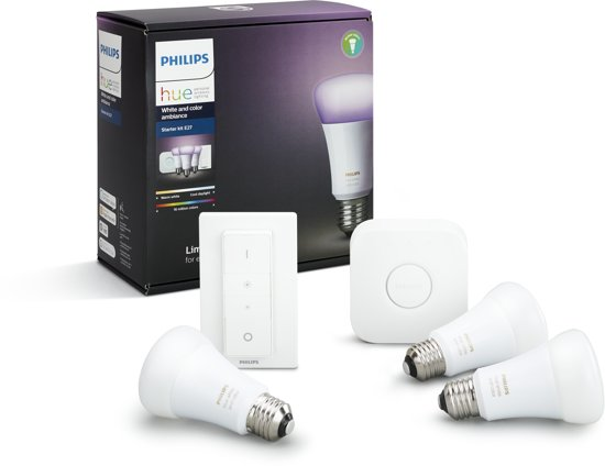 philips hue nieuw 2017 white and color ambiance starterkit inclusief hue dimmer. Black Bedroom Furniture Sets. Home Design Ideas