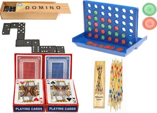 Spellen pakket vakantie reis spelletjes editie - 5 delig - mikado, kaartspellen 2x, domino & 4 op een rij