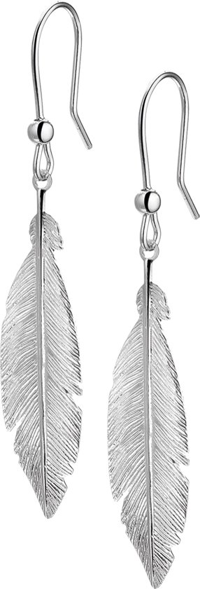 The Fashion Jewelry Collection Oorhangers Veer - Zilver Gerhodineerd