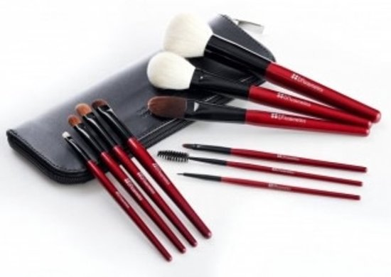 BH Cosmetics 10 pc Deluxe Brush Set Red