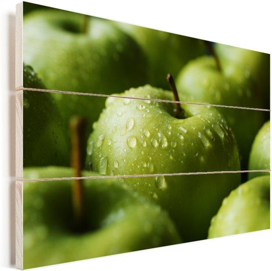 Natte groene appels Vurenhout met planken 120x80 cm - Foto print op Hout (Wanddecoratie)