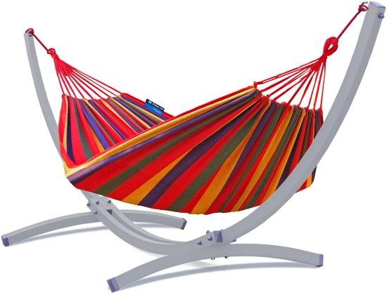 Potenza Titanium- Massieve Tweepersoons Hangmatset / 2-persoons Hangmat met standaard /Maximale draagkracht:350 kg