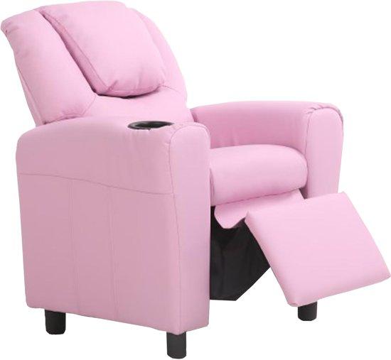 Kinder Relax Fauteuil.Bambino Kinder Relax Zetel Voor Kinderen Verstelbaar Inclusief Bekerhouder Massief Hout Eco Leder Roze