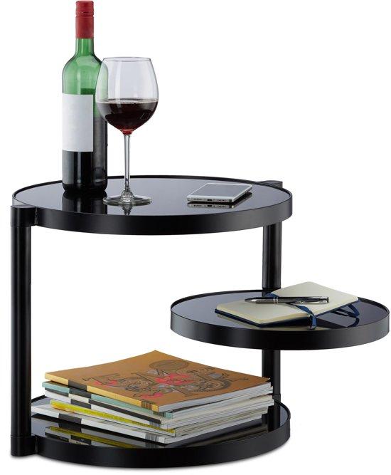 Zwarte Glazen Salontafels.Relaxdays Koffietafel Glas Zwart Ronde Salontafel Met 3 Plateaus Bijzettafel