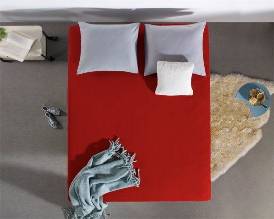 Hoogwaardige Jersey Hoeslaken Rood   200x220   135 Gram  Zacht En Comfortabel