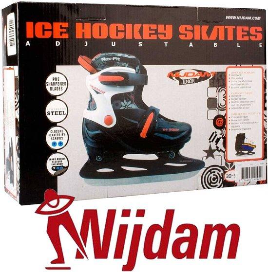 Nijdam 3007 Junior IJshockeyschaats - Verstelbaar - Hardboot - Zwart - Maat 30-33