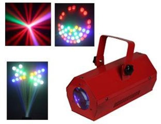 Ibiza LCM003LED-RED Disco LED Lichteffect Moon Flower RGBAW Rood