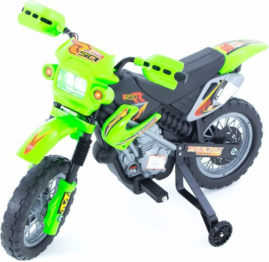 Elektrische kindermotor Kawasaki look groen