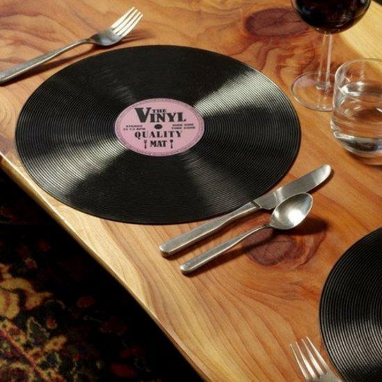 Placemat Vinyl | 4 stuks | vorm van CD plaat | Tafel bescherming | LP placemats | Placemats tafel | placemats kunststof