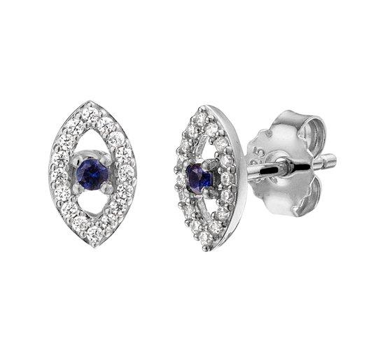The Fashion Jewelry Collection Oorknoppen Oog Zirkonia En Synthetisch Saffier - Zilver Gerhodineerd