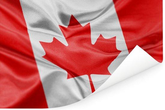 Close-up van de vlag van Canada Poster 60x40 cm - Foto print op Poster (wanddecoratie woonkamer / slaapkamer)