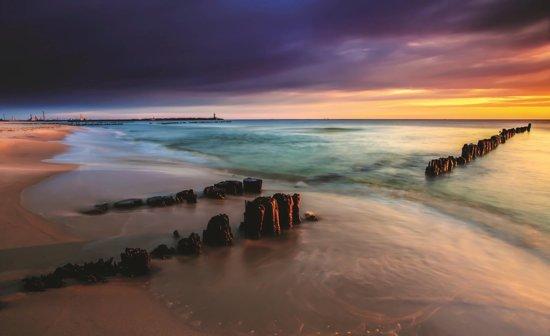 Fotobehang Strand Zee.Bol Com Fotobehang Strand Zee Grijs 312x219cm